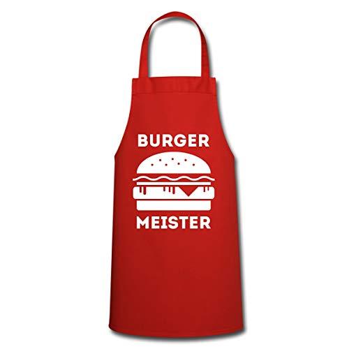 Spreadshirt Grillen Burger Meister Hamburger BBQ Kochschürze, Rot