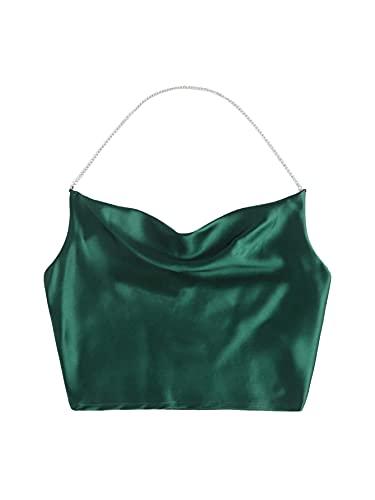 SheIn Women's Satin Chain Halter Neck Shirred Back Draped Crop Cami Top Dark Green L