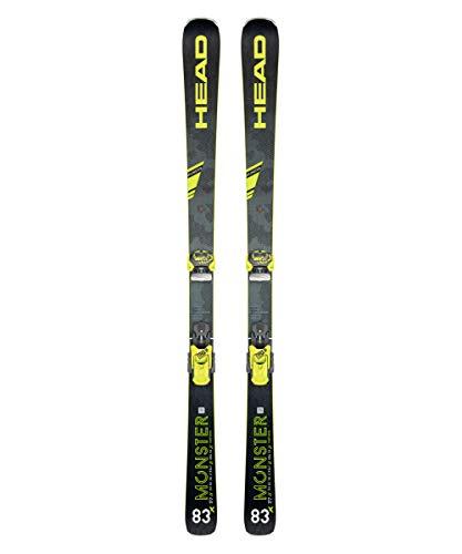 HEAD Unisex Monster 83 X SW Graphene Black/Neon Yellow All-Mountain Skis, Size: 163 All Terrain Cross Country Skis