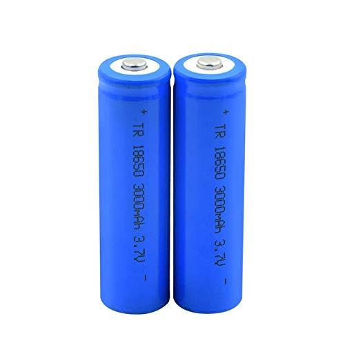 Yfkjh - Batería de ion de litio de 3,7 V, 3000 mAh, 18650, batería recargable de carga puntiaguda azul para linterna de bolsillo (2 unidades)