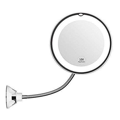 LIXHZJ Mirror Led with Light 10 Times Magnification Makeup Suction Cup with Long Round 360-Degree Rotating Makeup BathroomProduct Code: WW-164