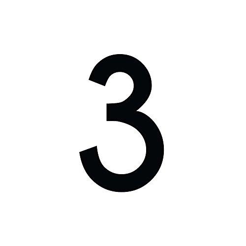 Zahlenaufkleber Nummer 3, schwarz, 10cm (100mm) hoch, Aufkleber mit Zahlen in vielen Farben + Höhen, wetterfest