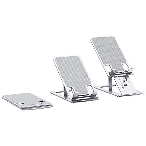 Soporte para teléfono, soporte ajustable de aluminio, soporte para iPad, soporte para tablet, compatible con iPhone, Kindle Nintendo Switch y más gadgets (plata)