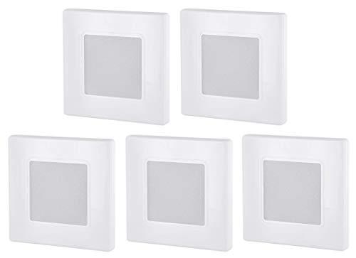 Pack de 5 focos LED empotrables para pared (230 V, cuadrados, para caja de interruptores de 60 mm, transformador LED integrado, luz blanca cálida (3000 K)