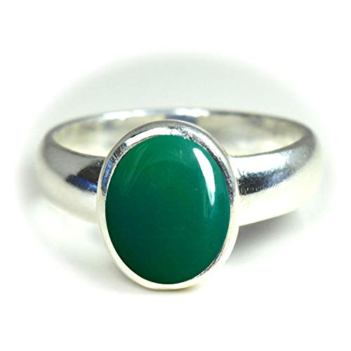 Jewelryonclick Natural Green Onyx Silver Rings for Women 5 Carat Gemstones Astrology Birthstone Size L