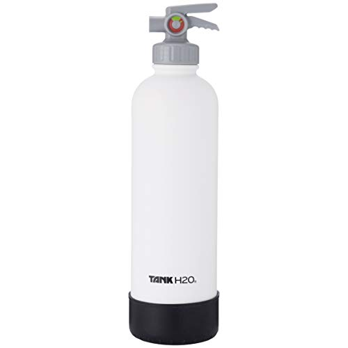 TANKH2O Fire Extinguisher Vacuum Insulated Water Bottle: Great Gift and Accessory for Firefighters | Holds 700mL | Food-grade stainless steel bottle, BPA-Free Cap, Silicone Boot (White)