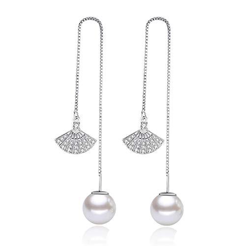 Kämise zilveren oorbellen voor dames, 925 sterling zilver, diameter 1 cm, parelmoer, doortrekoorbel met ventilator, zirkonia, hypoallergeen, lange hangketting, oorbel, cadeau voor meisjes, dames