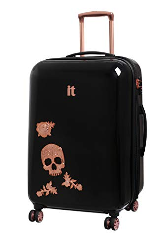 IT Luggage Candy Skull 65cm Expandable Hardshell Four Dual Wheel Spinner Suitcase Black