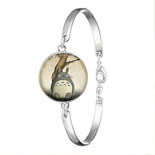 Maneray Mi vecino Totoro color plata pulsera de cristal cabujón brazalete de anime accesorios de joyería para niñas