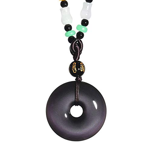 Toltec Lighting Color Obsidian Necklace Natural Safe Clasp Pendant Feng Shui Necklace Lucky Fortune Good Luck Ping An Ruyi Give Men/Women Charming Colors,30mm