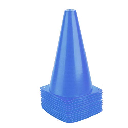 9 Inch Sports Cones, Basketball Cones, Traffic Training Cones, Agility Field Marker Cones for Soccer Football Drills Training, Outdoor Activity or Events - 12 Pack, Blue