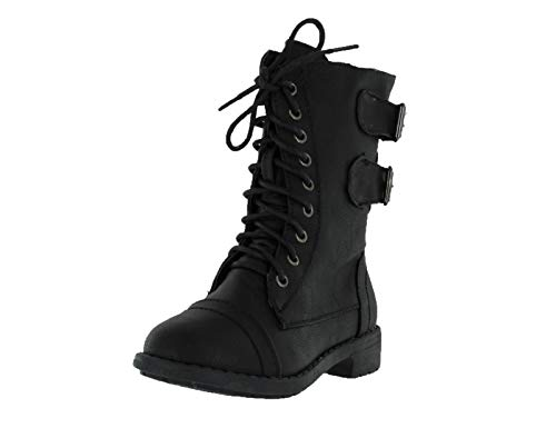 Lucky Top Soda Pack72 Dome Girls Faux Leather Combat Boots,Black, 2 Little Kid