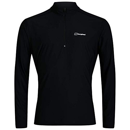 Berghaus 24/7 Long Sleeve Zip Base Layer Top T-Shirt, Jet Black, M para Hombre