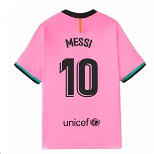 Kids/Youths Sportswear 2020/2021 Season Third Soccer T-Shirts Jersey/Short/Socks (Barcelona Messi #10(11-13years/size28)) Pink