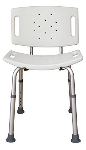 Essential Medical Supply Adjustable Tool Free Blow Molded Shower Bench with Removable Back