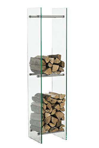 CLP Kaminholzregal/Kaminholzständer Dacio aus Klarglas I stabile Konstruktion I Holzlager I modernes Glasregal mit Bodenschonern, Farbe:Edelstahl, Größe:35x35x140 cm (6 Streben)