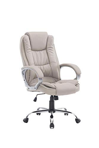 HOGAR24 ES Silla sillón de Oficina Estudio Alta Gama tapizado en Piel sintética, Color Beige taupé.