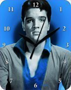 Wandklok 20x25 cm Elvis Presley blauw portretmetalen bord klok klok klok
