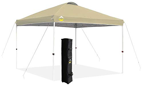 CROWN SHADES 10x10 Pop up Canopy Outside Canopy, Patented One Push Tent Canopy with Wheeled Carry Bag, Bonus 8 Stakes and 4 Ropes, Blue