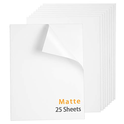 Premium Printable Vinyl Sticker Paper for Inkjet Printer, Matte White Waterproof Decal Paper 8.5 x 11 Inch 25 Sheets, Dries Quickly and Holds Ink Beautifully