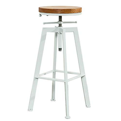 Sgabello da bar industriale vintage, Rustico Sgabello da bar girevole, Sedile rotondo in legno e sgabello in metallo, Sgabello regolabile in altezza per bancone da cucina, bianca