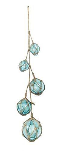 linoows Fischerkugel Leine, 5 Meeresblaue Glas Fischerkugeln an Einer Jute Leine 70 cm
