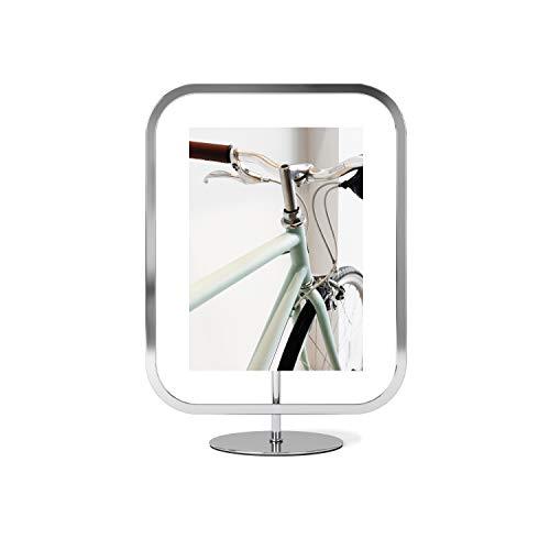 Umbra Infinity Sqround 13 x 18 cm Bilderrahmen zum Aufstellen oder Aufhängen, Metall, Chrom, normal