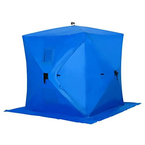 Outsunny 2 Person Pop Up Clam Ice Fishing Tent Portable Shelter - Blue