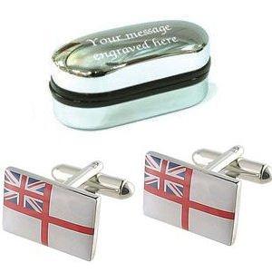La Royal Navy Ensign Drapeau boutons de manchette + Boîte personnalisé gratuit