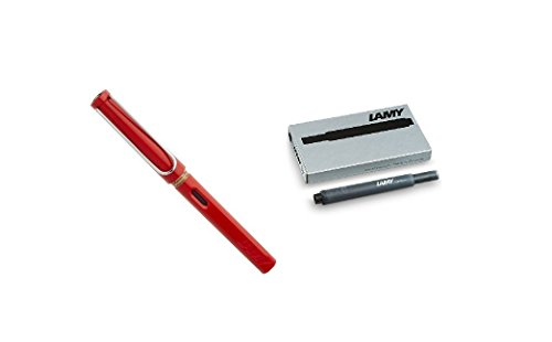 Lamy Safari rojo extra punta fina pluma estilográfica (L16EF), color rosso Extra Fine Pen + Refills