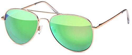Hatstar Premium Set, Pilotenbrille Verspiegelt Fliegerbrille Sonnenbrille Pornobrille Brille mit Federscharnier (87   Rahmen Gold - Glas Gold/Grün verspiegelt)
