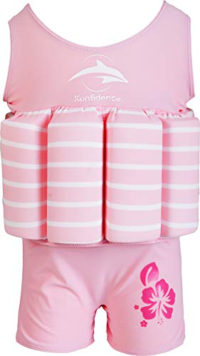 Konfidence Badeanzug mit Schwimmhilfe 4 - 5 Jahre Rosa - Pink Breton Stripe