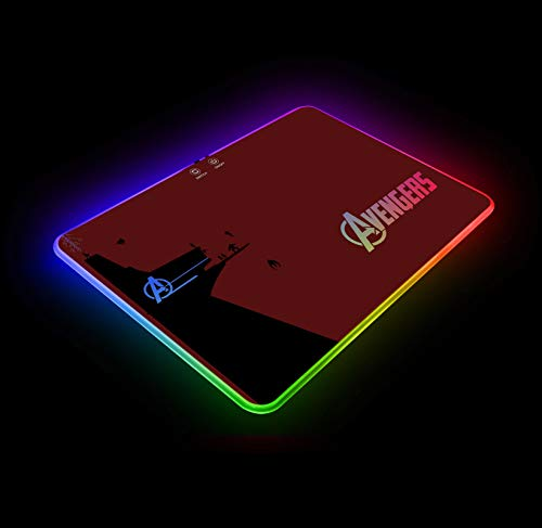 Marvel Avengers Alliance Building RGB Gaming Mouse Pad Colorful LED Atmosphere Light Hard Surface with Personalized Luminous Pattern Gamer Gifts W14 X H10 (350 X 250 mm)