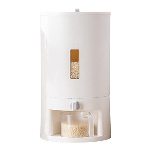 fafafa Cubo de arroz, contenedor de almacenamiento de alimentos, balanza, taza medidora, dispensador de arroz, frutos secos, maíz, granos de café, cubo de almacenamiento antioxidación (color: blanco)