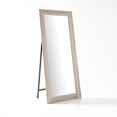 ARHome Specchio da Terra con Staffa, 180 x 78, Rovere Naturale, Made in Italy
