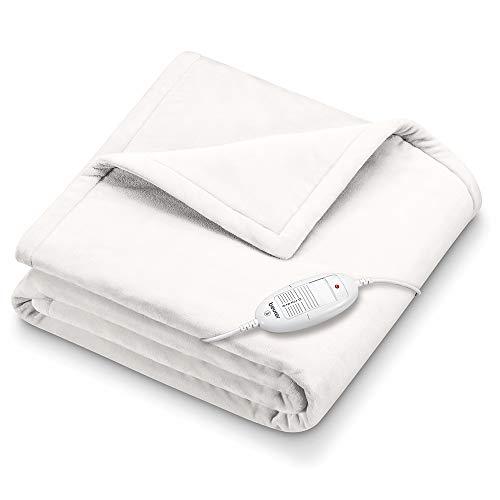 Beurer HD 75 Heizdecke, kuschelige Wärmedecke mit 6 Temperaturstufen, Sicherheitssystem und Abschaltautomatik, maschinenwaschbar, weiß