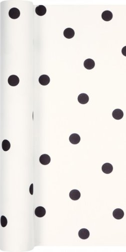 Tafelloper, tafelband Airlaid Dots punten zwart 490 x 40 cm op rol voor de gedekte tafel, gelegenheid, feest, verjaardag, bruiloft, doop, communie, Kerstmis, Pasen