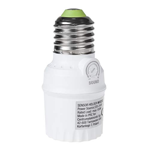 Maclean MCE232 Lampenfassung mit Geräuschsensor E27 Fassung Adapter Erfassungsbereich 360° Sensor Automatische Beleuchtung 30dB - 90dB