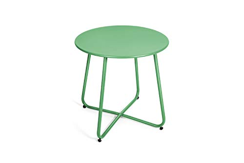 Pationate Patio Metal Side Table, Small Outdoor Bistro Round End Table (Cactus)