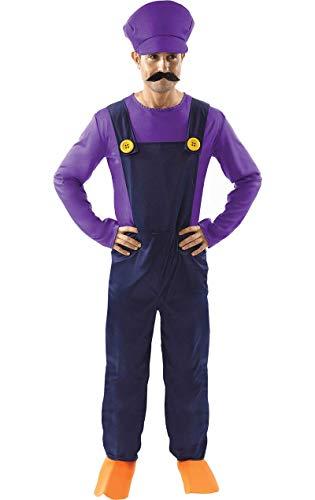 ORION COSTUMES Costume de déguisement violet de jeu vidéo rétro des années 80 du partenaire de méchant plombier pour hommes