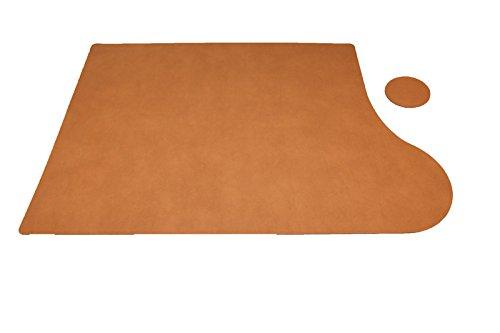 Schreibtischunterlage Plus aus recyceltem Leder 69x49cm Rechtshänder, Untersetzer rund - Braun