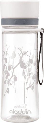 Aladdin AVEO Trinkflasche aus Tritan-Kunststoff, 0.6 Liter, White Lotus, Auslaufsicher, Durchsichtig, Wasserflasche Fahrradflasche