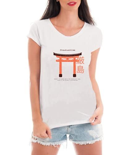 Camiseta Feminina Japão Hiroshima - Torii Gate - Itsukushima - Camisa Divertida e Engraçada (Cinza, G)