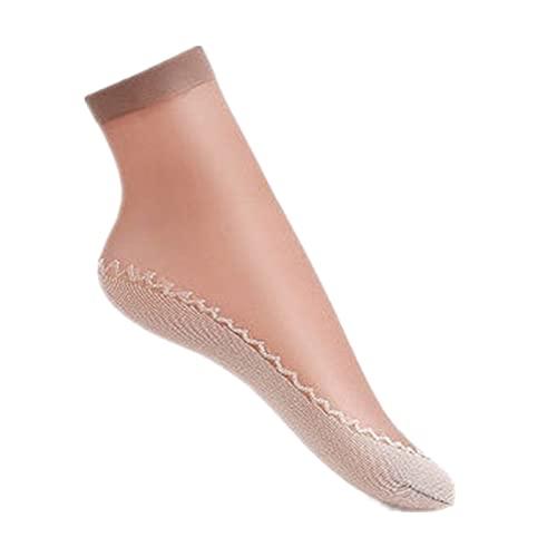 JR2021FF 10 Pares de Calcetines de Nylon Femeninos Mujeres Transparentes Calcetines Cortos para el Tobillo de Verano de Invierno de otoño Sheer (Color : B, Size : EUR 34 to 42)