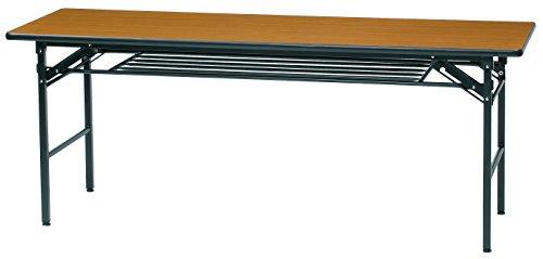 【法人限定】 ソフトエッジ 折りたたみ 会議テーブル 棚付き 幅1800 奥行600 高700 リニューアル 長机 会議デスク GD-664 (T:チーク)