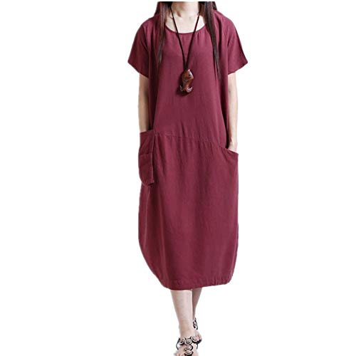 x8jdieu3 Summer Women's Fashion Foreign Trade Explosion Models Loose Collage Stitching Pockets Long Paragraph Large Size Casual Dress Female Wine Red