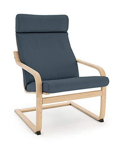 Vinylla Funda de repuesto para sillón compatible con IKEA Poäng (3 de algodón, color azul lago)