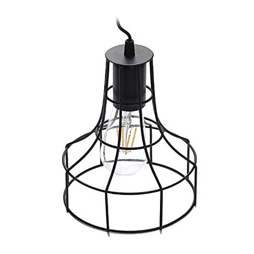 Generic Linterna Solar al Aire Libre luz Colgante lámpara Solar de Metal con diseño de Bombilla Edison Blanca cálida para jardín Patio Proch decoración