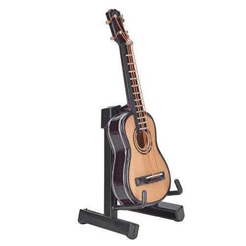 VINGVO Modelo De Guitarra, Guitarra De Madera En Miniatura, para Estantería Casera, Regalo De Acción De Gracias, (Color Madera 8cm)