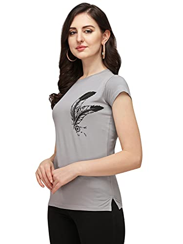 DHRUVI TRENDZ Women Printed Lycra Top with Half Sleeves for Office Wear, Casual Wear, Under 399 Top for Women/Girls Top(Grey_Small)